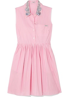 Miu Miu Embellished Striped Cotton-poplin Mini Dress