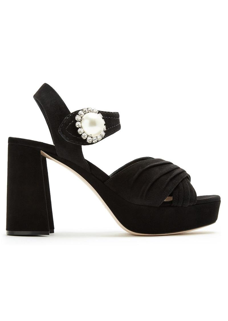 ef7a3fc3fa0 SALE! Miu Miu Miu Miu Embellished suede block-heel platform sandals