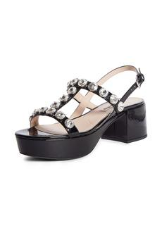 Miu Miu Embellished T-Strap Platform Sandal (Women)