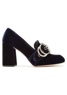 Miu Miu Embellished velvet block-heel loafers