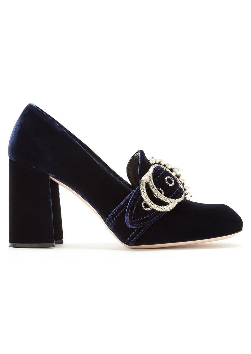 1477637fe120 Miu Miu Miu Miu Embellished velvet block-heel loafers