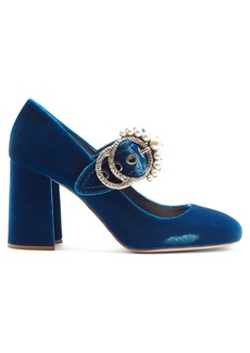 Miu Miu Embellished velvet block-heel pumps