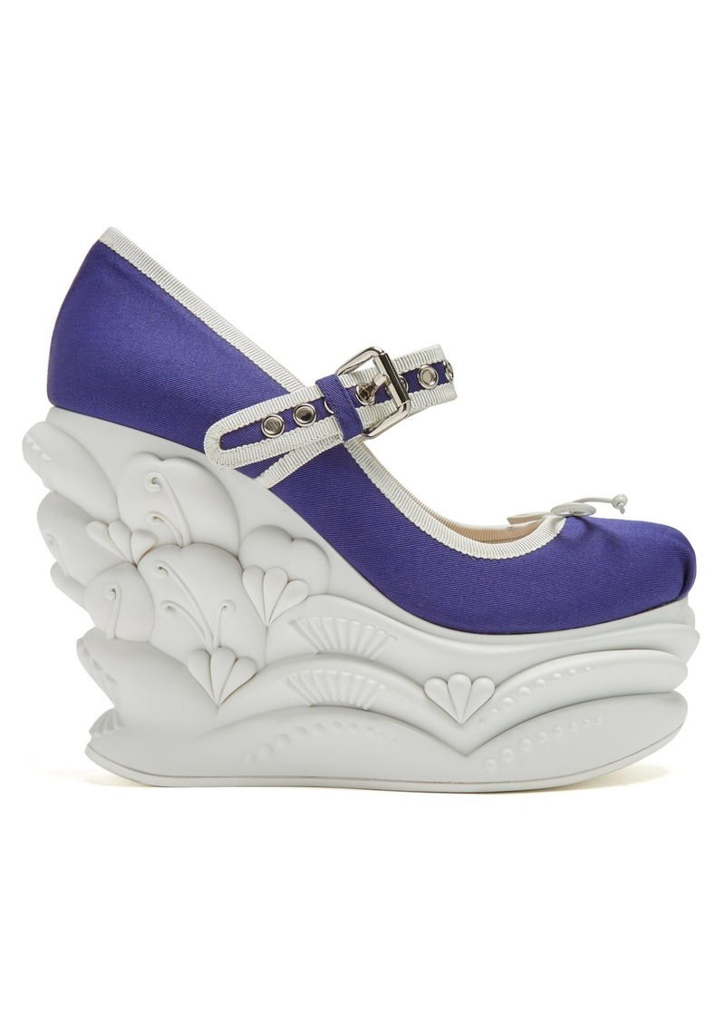 Miu Miu Embossed faille ballet wedge pumps