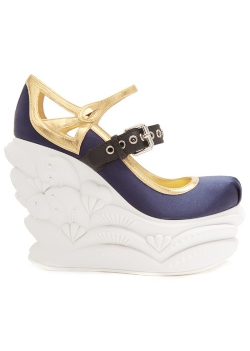 Miu Miu Embossed satin ballet wedge pumps