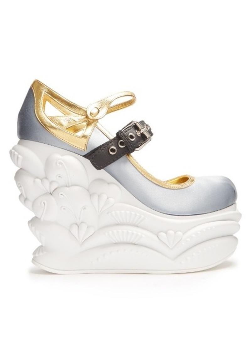 miu miu miu miu embossed satin ballet wedge pumps shoes shop it to me. Black Bedroom Furniture Sets. Home Design Ideas