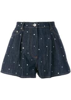 Miu Miu embroidered denim shorts - Blue