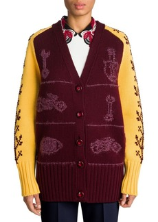 Miu Miu Embroidered Oversize Wool Cardigan