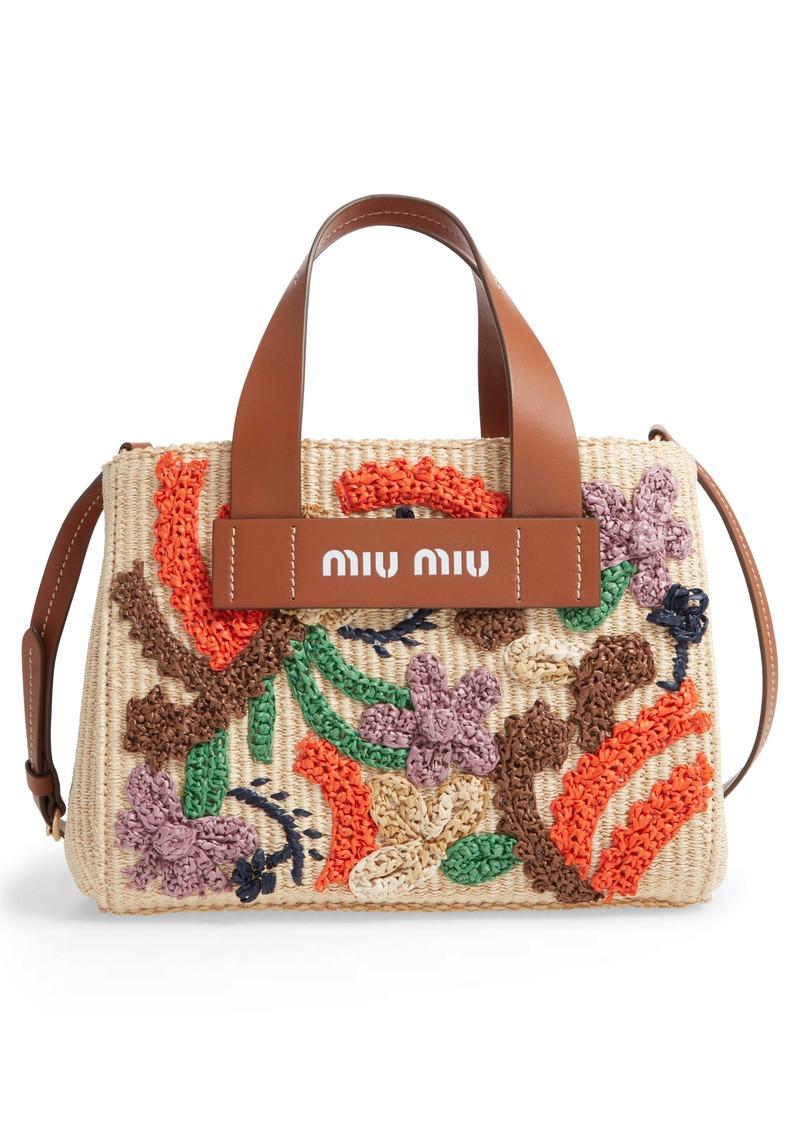 Miu Miu Embroidered Raffia Satchel