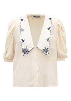 Miu Miu Exaggerated-collar silk blouse