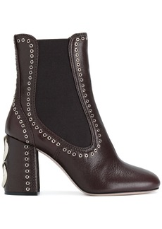 Miu Miu eyelet detail ankle boots - Brown