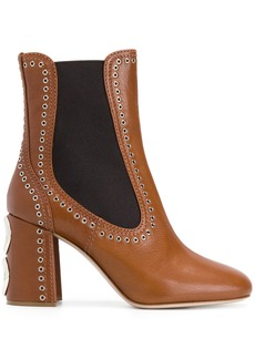 Miu Miu eyelet-embellished ankle boots - Brown