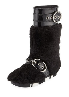 Miu Miu Faux-Fur Boot with Buckle Detail