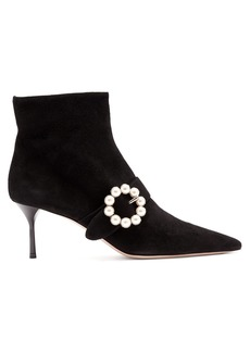 Miu Miu Faux-pearl buckle suede boots