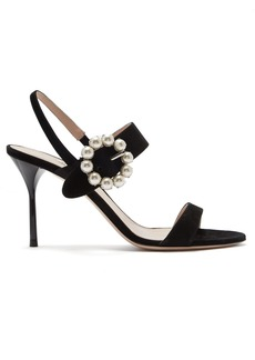 Miu Miu Faux pearl-embellished suede sandals