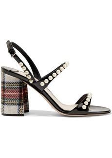 Miu Miu Faux pearl-embellished patent-leather and tartan tweed sandals
