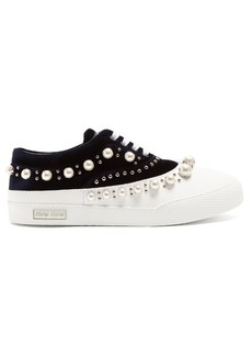 Miu Miu Faux pearl-embellished velvet and rubber trainers