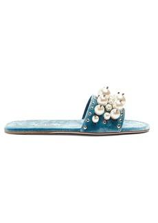 Miu Miu Faux-pearl embellished velvet slides