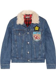 Miu Miu Faux shearling-trimmed appliquéd denim jacket