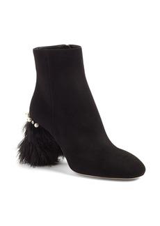 Miu Miu Feather Block Heel Bootie (Women)