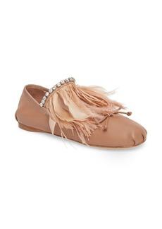 Miu Miu Feather Embellished Ballet Flat (Women)