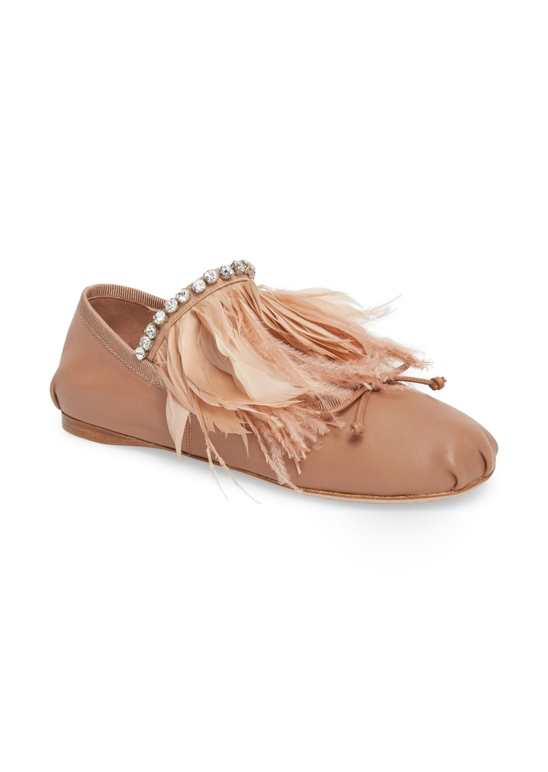 3630a9684e6 Miu Miu Miu Miu Feather Embellished Ballet Flat (Women)