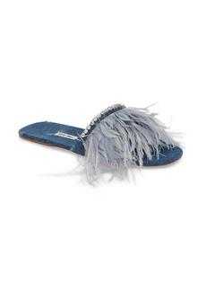 Miu Miu Feather Embellished Slide Sandal (Women)