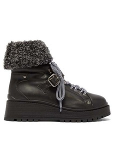 Miu Miu Fleece-cuff leather ankle boots