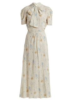 Miu Miu Floral-print crepe de Chine dress