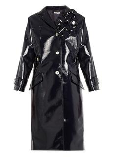 Miu Miu Floral-embellished vinyl coat