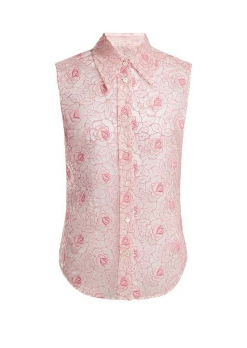 Miu Miu Floral-lace point-collar sleeveless shirt