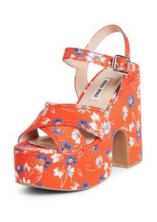 Miu Miu Floral Platform Quarter Strap Sandal (Women)