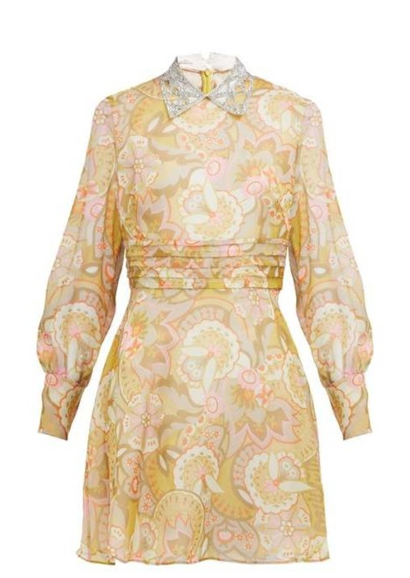 Miu Miu Floral-print crystal-collar georgette mini dress