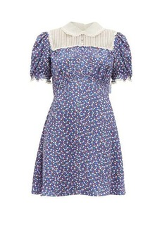 Miu Miu Floral-print silk-charmeuse mini dress