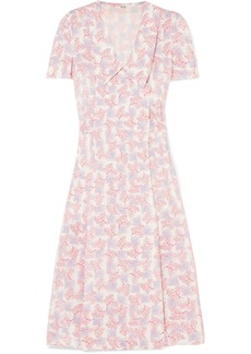Miu Miu Floral-print Silk Crepe De Chine Wrap Dress