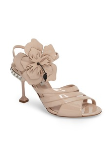 Miu Miu Flower Appliqué Sandal (Women)