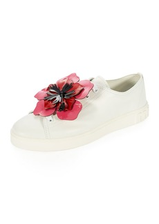 Miu Miu Flower-Embellished Leather Low-Top Sneaker