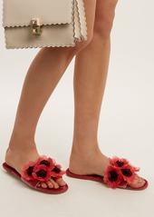 Miu Miu Flower-embellished velvet slides