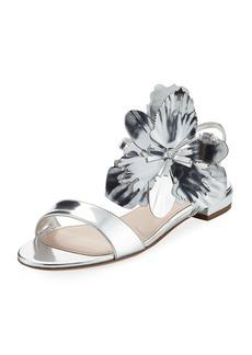 Miu Miu Flower Metallic Flat Sandal