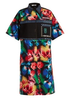 Miu Miu Flower-print embellished stretch-denim dress