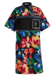Miu Miu Flower-print embellished stretch-denim dress