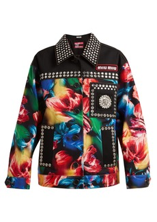 Miu Miu Flower-print embellished stretch-denim jacket