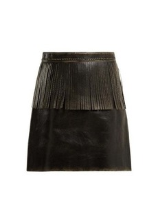 Miu Miu Fringe-trimmed leather mini skirt
