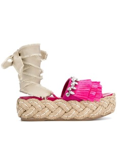 Miu Miu fringed embellished sandals - Pink & Purple