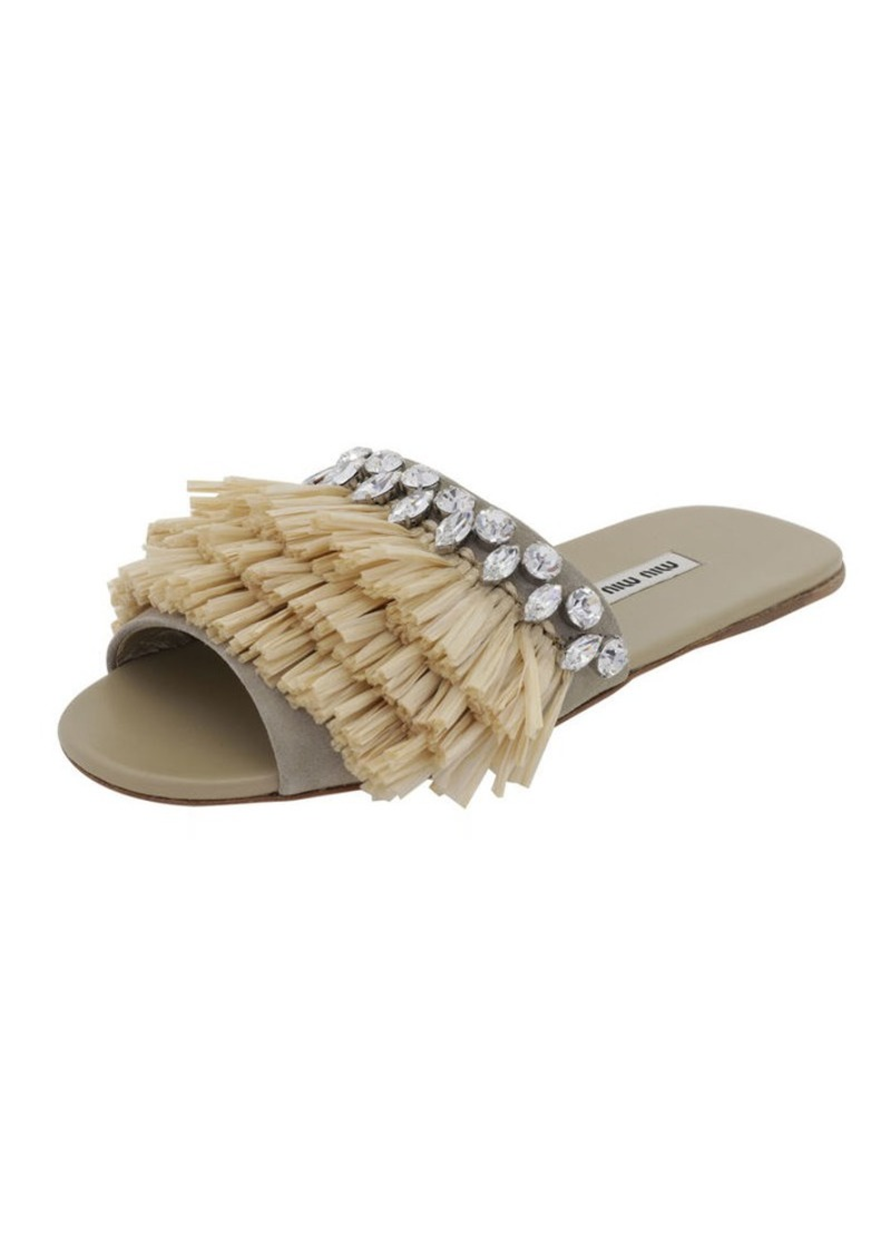 Miu Miu Fringed One-Band Flat Slide Sandal