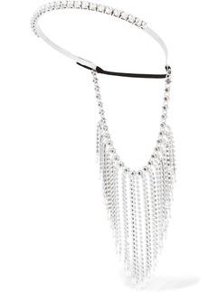 Fringed silver-tone, crystal and bead headband