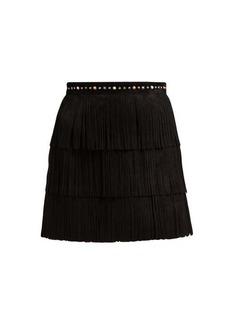 Miu Miu Fringed suede mini skirt