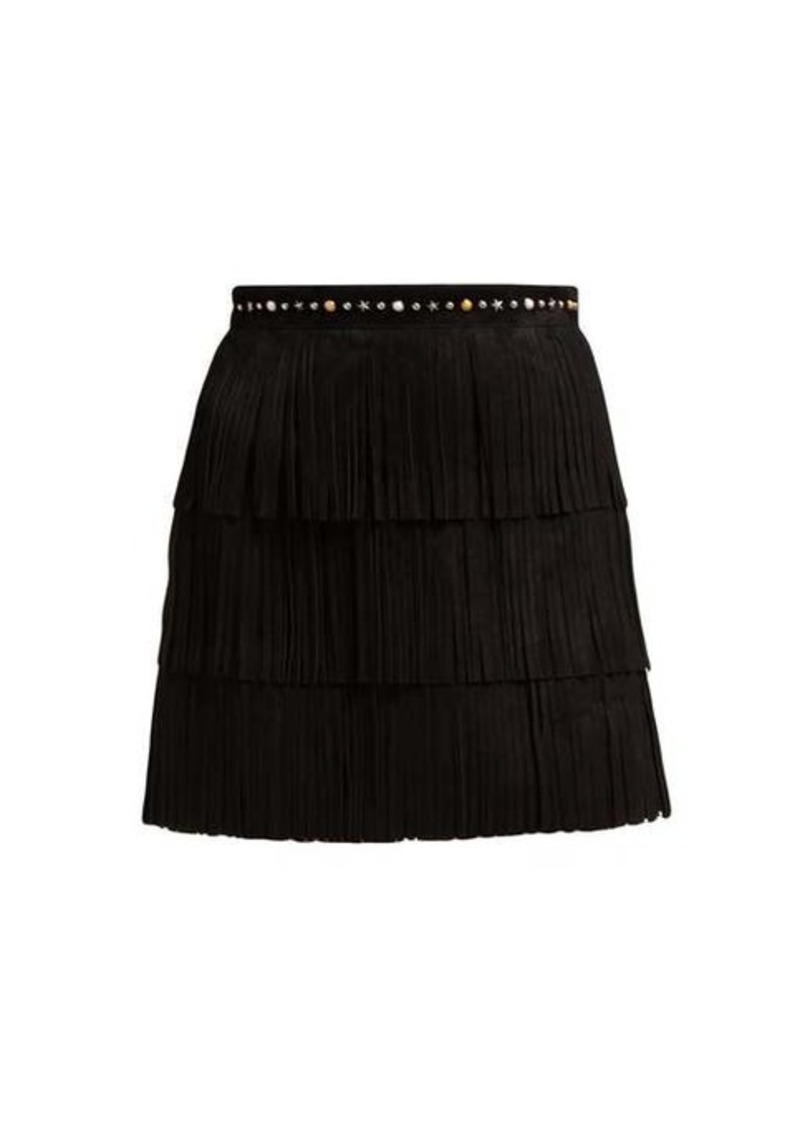 Miu Miu Fringed suede mini skirt