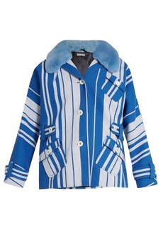 Miu Miu Fur-collar striped cotton jacket
