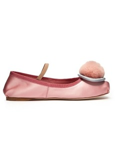Miu Miu Fur-pompom satin ballet flats