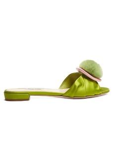 Miu Miu Fur-pompom satin slides